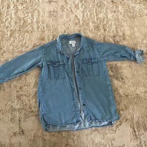 Old navy 6/7 denim blue girls button down shirt